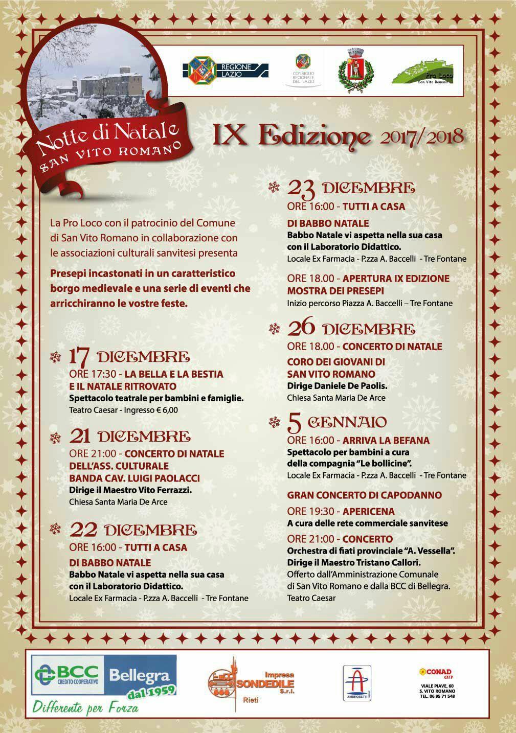 Menu Di Natale Romano.Ix Ed Notte Di Natale Al Via Dal 17 Dicembre Al 6 Gennaio